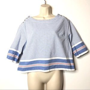 Anthropologie Maeve Blue Striped Top S B3
